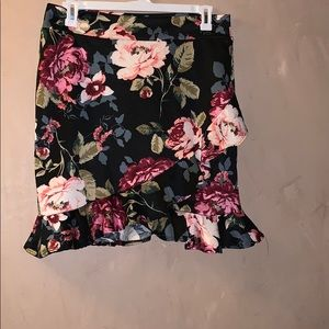 Floral print skirt with ruffle detail at bottom